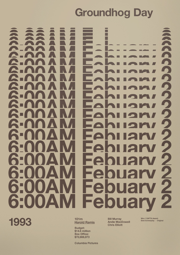 Groundhog Day Film Poster by A.N.D Studio #movie #g #design #graphic #poster #film #typography