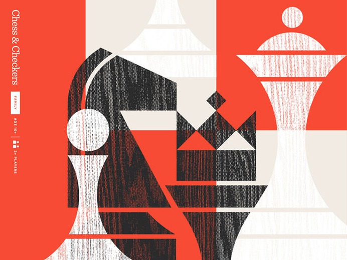game_gallery_dribbble_chess_checkers Using a red color palette and the various shades of red