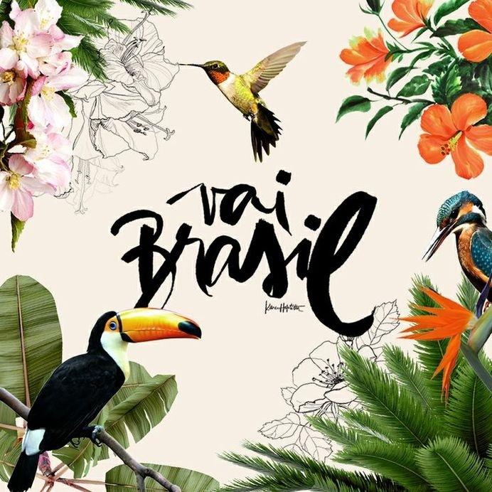 Brasil ! by Karen Hofstetter #script #hummingbird #floral #illustration #brush #typography