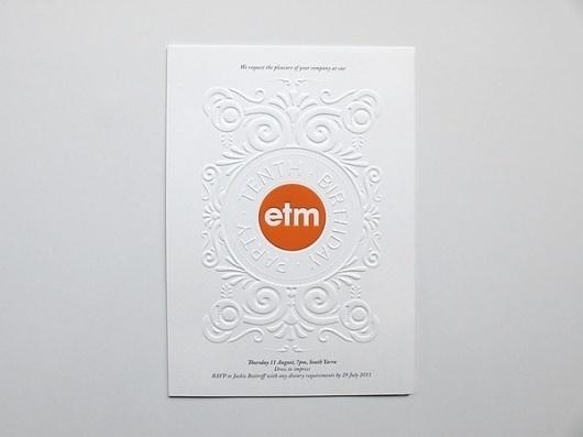 ETM on the Behance Network #cover #letterpress #branding #etm