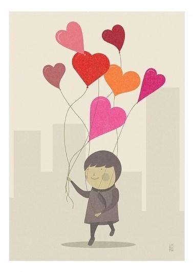 The Love Balloons Print by Judykaufmann on Etsy #heart #happy #judy #balloons #illustration #kaufmann #love