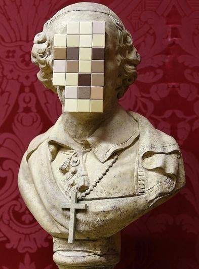 Banksy's New Pixelated Sculpture: Cardinal Sin - My Modern Metropolis #priest #banksy #art