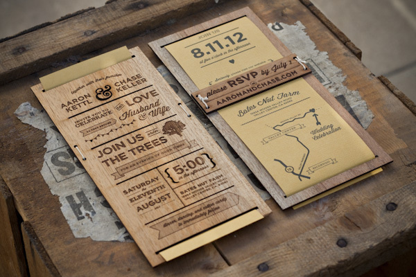 Wedding Invitation on the Behance Network #wood #print #invitation