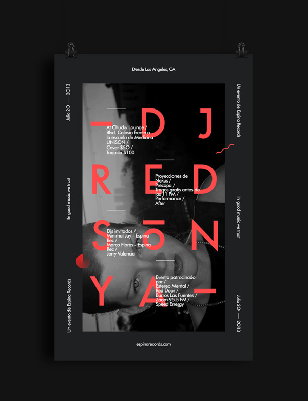 Dj Red Sonya Flyer #red #party #music #space #grid #poster #modernism #new