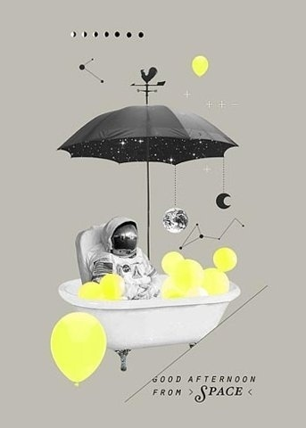 FFFFOUND! | Koyuki Anagaki featured by Netdiver Magazine #astronaut #umbrella #space