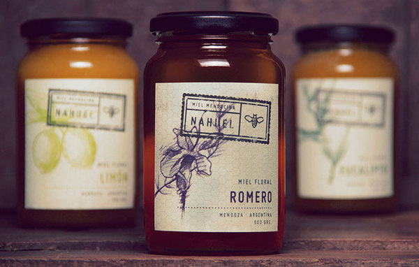 Nahuel Floral Honey #stamp #packaging #icon #classic #bee #floral #vintage #honey #logo
