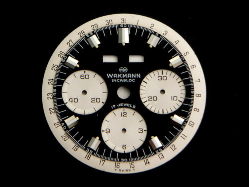 Original-Vintage-WAKMANN-Chronograph-Black-amp-White-Watch-Dial-Men-039-s-Valjoux-730