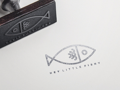 Hey Little Fishy #stamp #branding #illustrator #stroke #type #food #texture #clean #illustration #brand #identity #logo