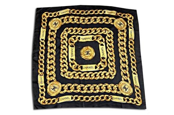 Chanel Caviar Black Silk Scarf #scarf #cambon #chain #chanel #gold #rue