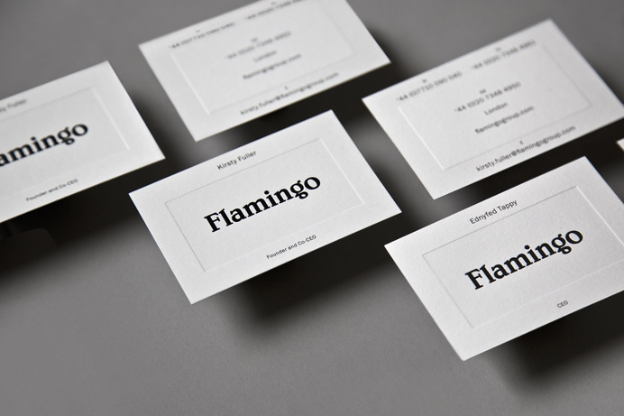 Flamingo branding business cards