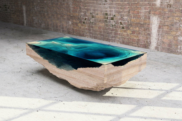 duffy london layers the abyss table to look like ocean depths #glass #furniture #table