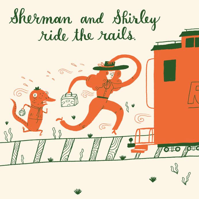 train, Mary Kate McDevitt, illustration, fun, abstract, person
