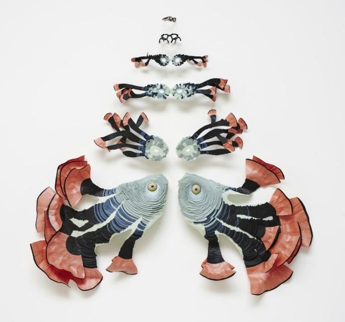 paper, fish, metamorphosis, sculpture