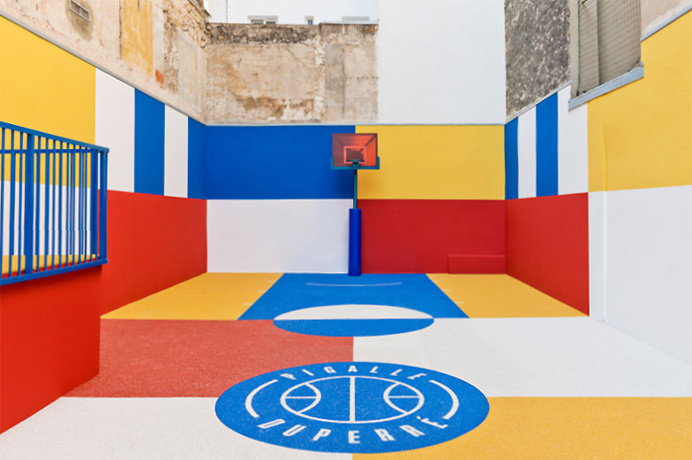 Pigalle Creates a Colorful Basketball Court Between Paris Apartments Inspired by 1930s artwork 'Sportsmen' by Russian artist Kasimir Mal