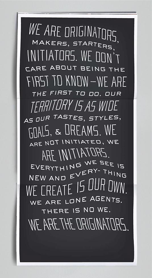 Originators Manifesto Koseli Cummings: copy/voice/wit, writ #typography