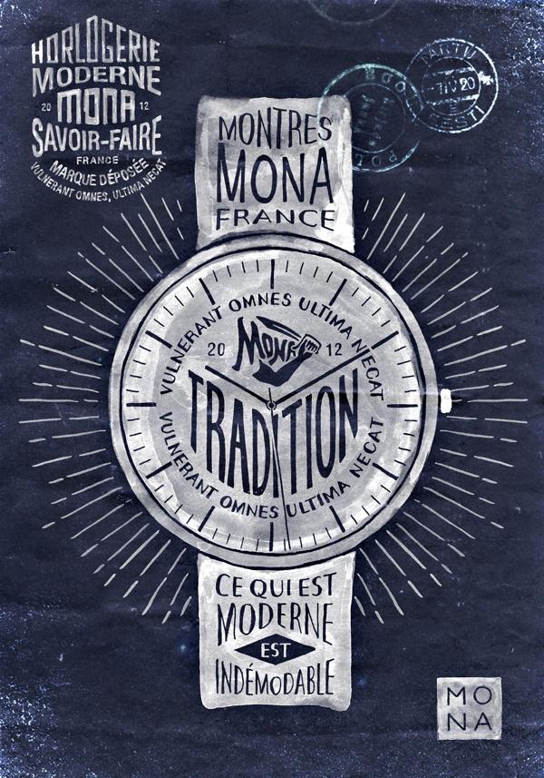 Montres MONA on Behance #branding #design #bmd #illustration #type
