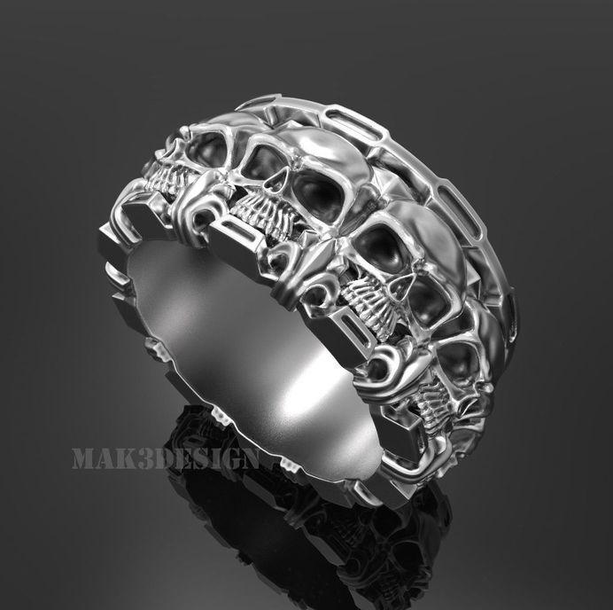 ring skull 131 3d model obj stl 1