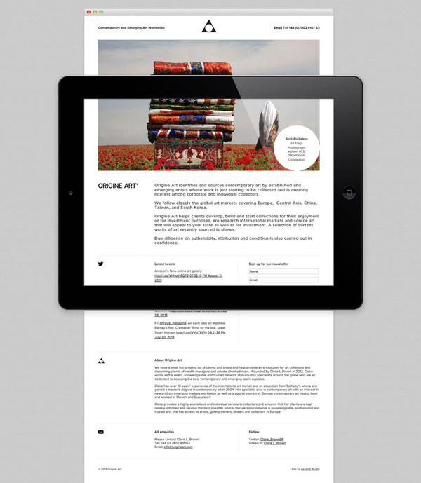 Web design for Origine Art by Ascend Studio #design #art #website