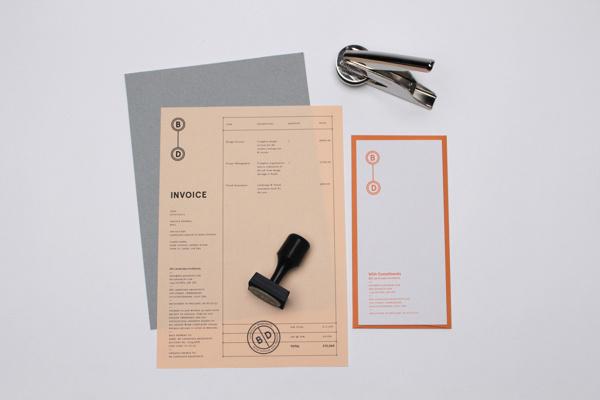 B D Landscape Architects #emboss #stamp #invoice #branding #print #slip #orange #logo #identity #stationery #passport #notebook #compliment #grey