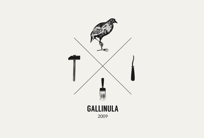 Gallinula Workshop logo design. #hipster #workshop #bird #brush #hammer #logo