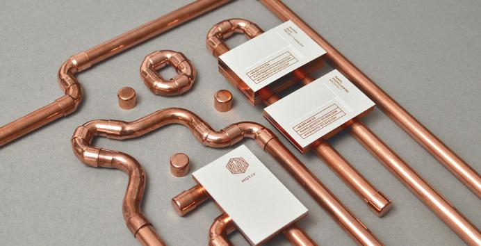 motiv studio design agency branding modern copper business card painted edges design inspiration designblog inspiration www.mindsparklemag.c