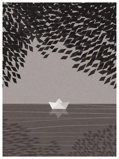 summer day #lake #illustration #boat #summer #day #mood #paper