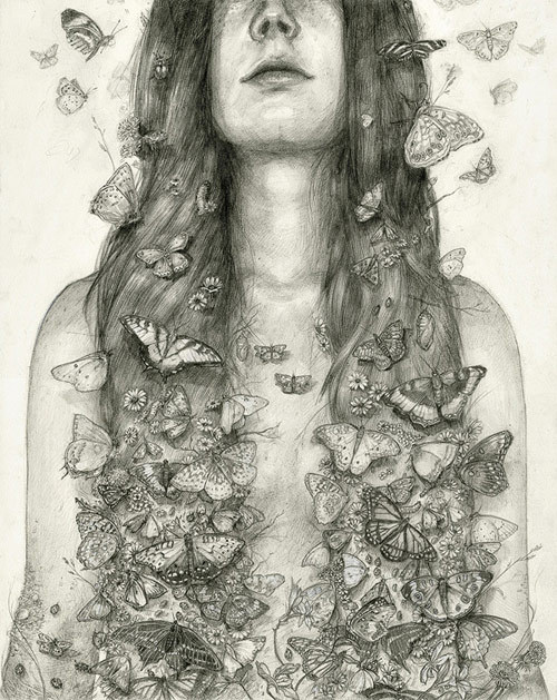 Drawings by artist T. Dylan Moore #butterflies #white #girl #insects #wildlife #black #hair #illustration #nature #and