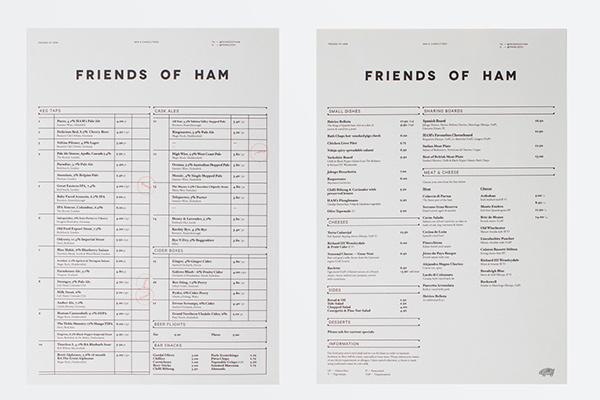 Friends of Ham on Behance #deli #menu #print #restaurant #bar #layout #editorial #charcuterie #typography