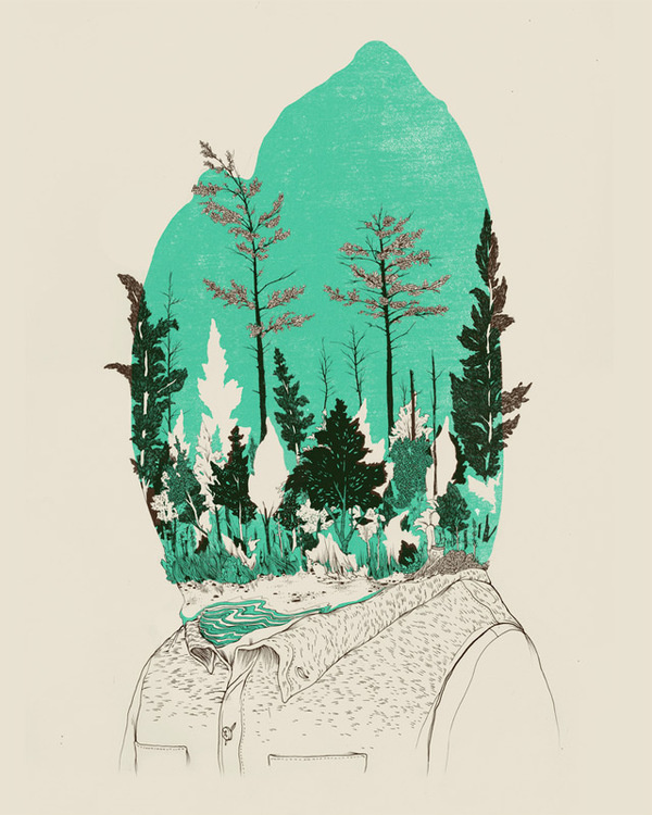 The Natural and Urban Collide in the Drawings of Pat Perry #ink #head #illustration #pen #forest #drawing #green