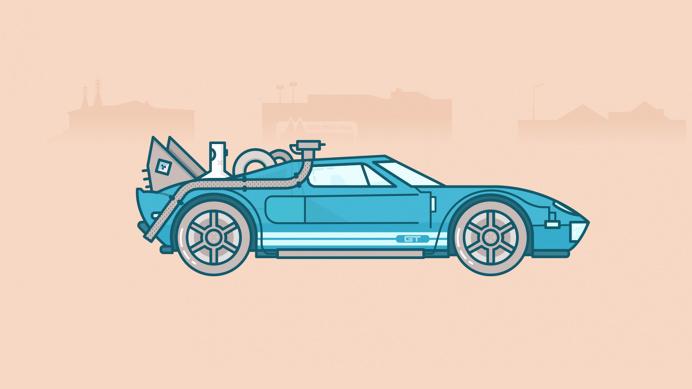 Back to the future car illustration - www.lucasjubb.co.uk