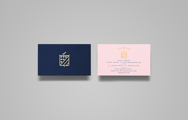Logo and business cards with gold foil detail designed by Anagrama for event panner Checklist #logo #branding #crest