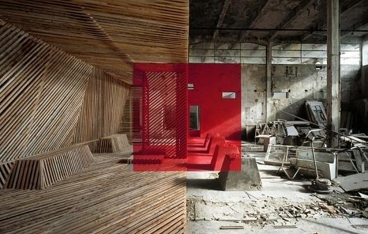 rousse_6_905.jpg (800×509) #wood #halves #concrete #red