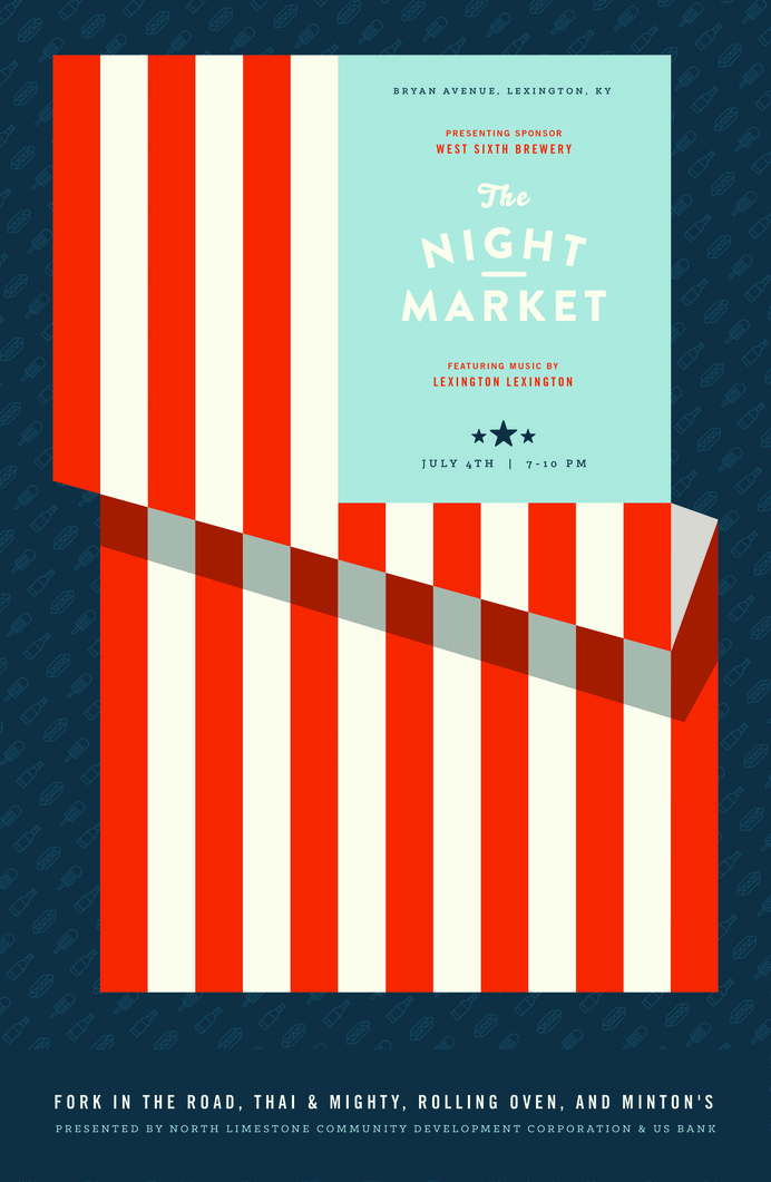 NightMarket_July #market #event #flag #of #astrology #design #july #publicity #independence #night #kentucky #fourth #american #eagle #poster #day #america #bald #moon