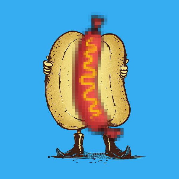 Hotdog Flasher - Art by Madkobra #madkobra #sausage #illustration #hotdog #painting #flasher