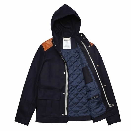 Hooded jacket made of heavy weight wool from Italy. Featuring leather shoulder patches and chambray lining. Made in Europe. - Norse Projects #fashion #jacket