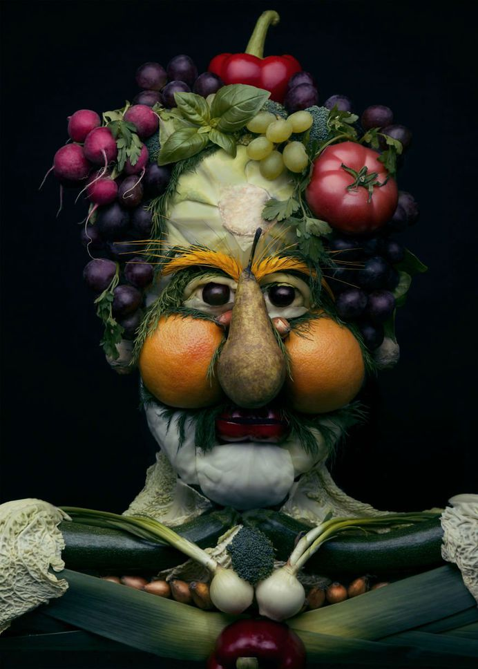 Mind Blowing Realistic Portrait Made with Fruits and Vegetables 2 Mind Blowing Realistic Portrait Made with Fruits and Vegetables