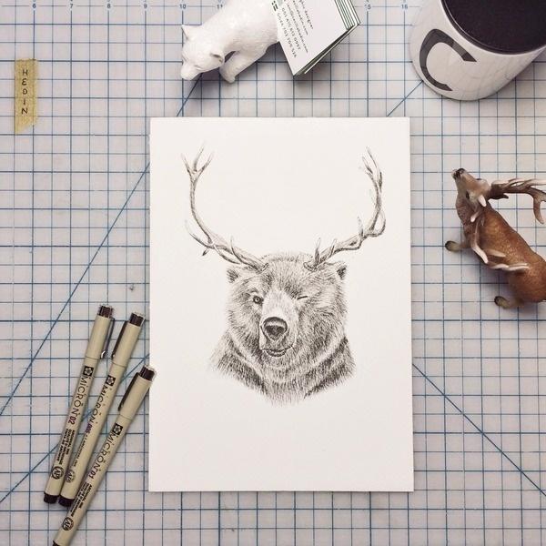 Reinbear illustration, by Cecilia Hedin #deer #ink #white #desktop #woodland #black #hybrid #illustration #reinbear #and #bear #animal