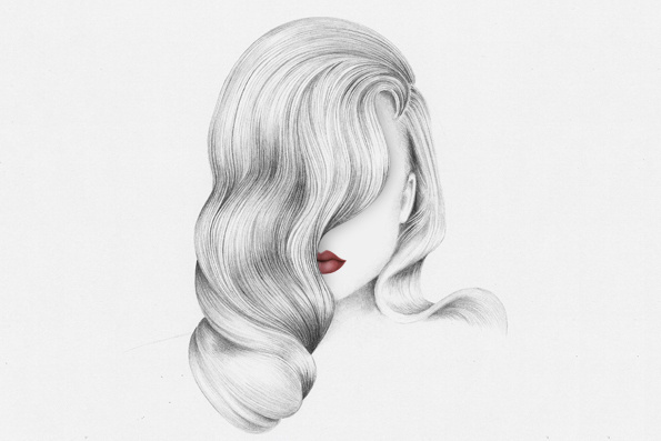 Miriam Abbas | Moon 83 #fringe #lips #drawing #hair #illustration #portrait #art #pencil #lipstick #sketch