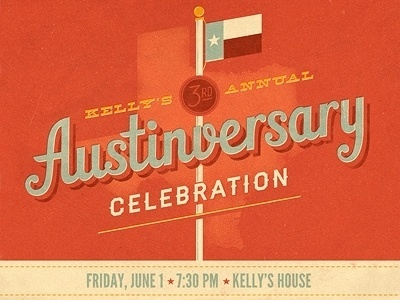 Dribbble - 3rd Annual Austinversary by Jacob Etter #invitation #print #promotional #orange #texas #typography