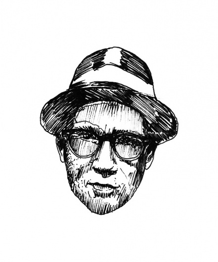 The Hat #glasses #white #scratch #head #black #illustration #hat #face #mouth