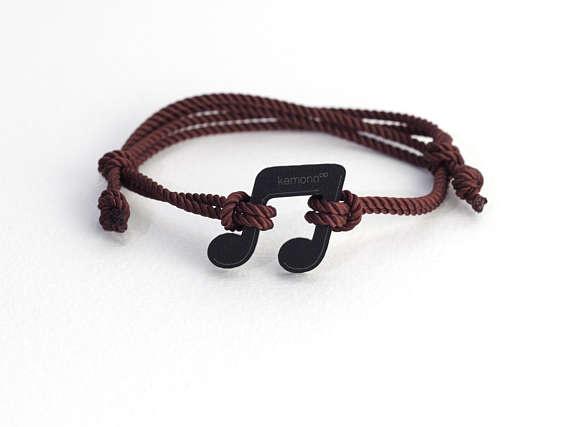 Musical Note Kemono #bracelet / #wristlet - black collection #music #product #design