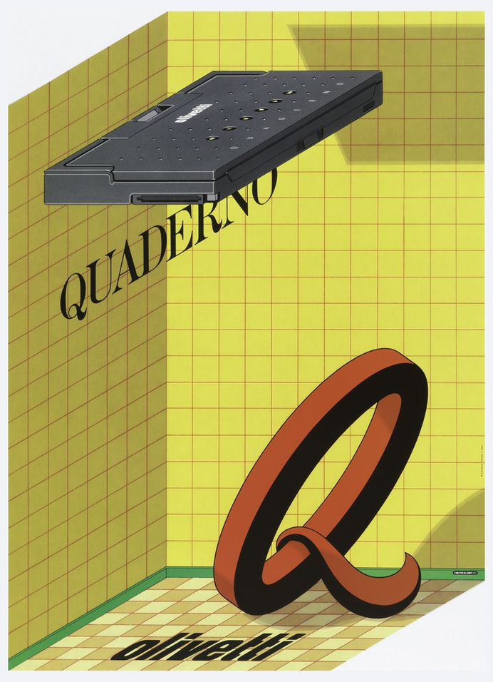 In a yellow tiled shower stall with green molding and beige flooring, a large red and black Q leans as though on its kickstand. Below, on floor, in black: olivetti; above, in black: QUADERNO. Hovering above is the gray vintage computer; in white: Olivetti / QUADERNO.