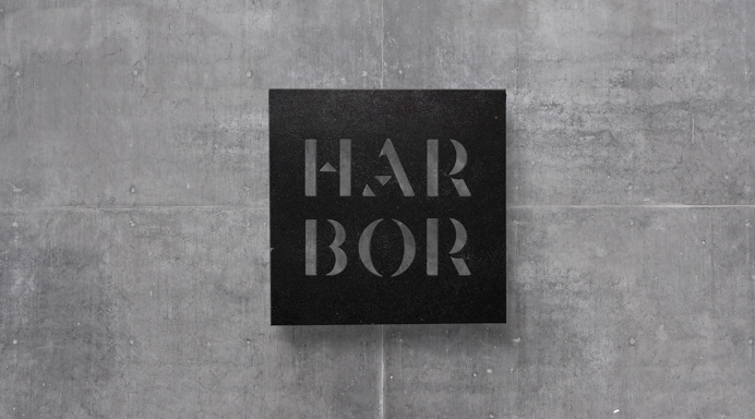 Harbor Suites - Kommigraphics #stencil #font #custom #urban #industrial #hotel #sign #concrete #mat #metal