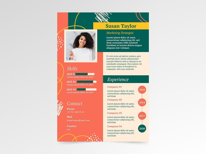 Free Marketing Strategist CV Resume Template for your Job Interview