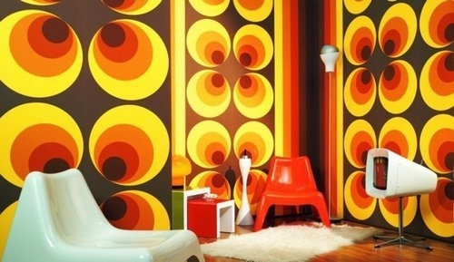 apollo 70s retro living room 1 #interior #wallpaper #retro #graphic