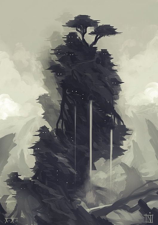 Tervana by ~MagusVerus on deviantART #japan #fantasy #mountain #cliff #illustration #waterfall #trees