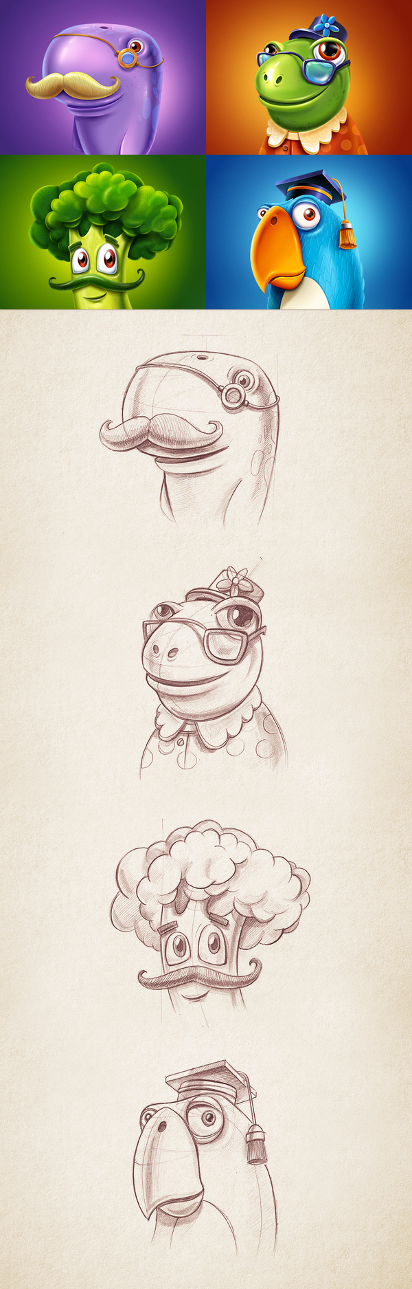 Game characters #design #realistic #cartoon #game #character #sketch