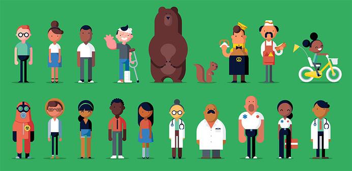Oscar Characters by Robin Davey — Agent Pekka #design #geometric #human #illustration #minimal #character