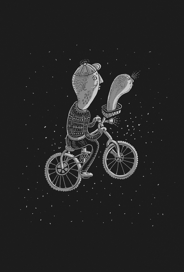 jean de wet - Illustration #white #bicycle #wet #de #black #illustration #and #jean