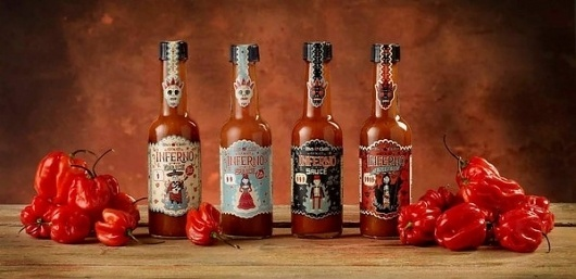 INFERNO chilli #pepper #sauce #packaging #mexican #illustration #latin #spicy #skull